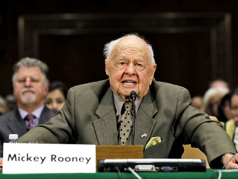 Entertainer Mickey Rooney testifies on Capitol Hill in Washington, Wednesday, March 2, 2011, about elder abuse, before the Senate Aging Committee. (AP Photo/Alex Brandon) Original Filename: Congress Aging Rooney.JPEG-07ca4.jpg